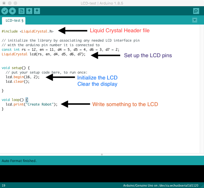 Arduino LCD using Sensor Shield v5 - Learn Robotics