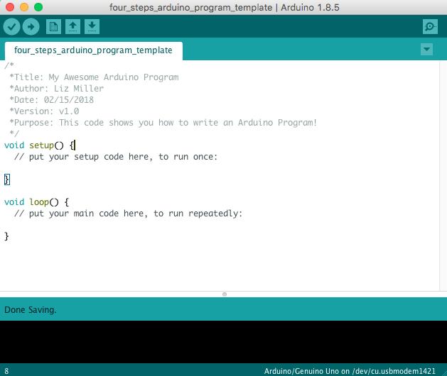 how to write an Arduino program