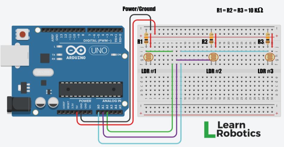 light following arduino robot using photoresistors