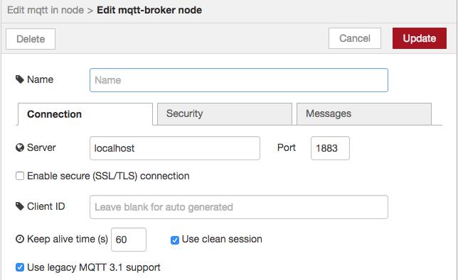 Node-RED MQTT server settings