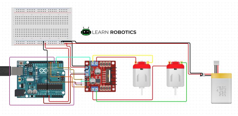 Motor ControlleL298N Arduino Uno diagram