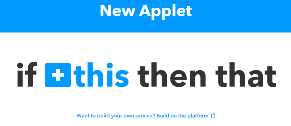 IFTTT recipe home automation