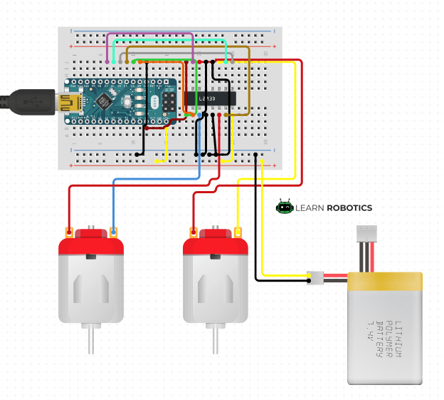 Motor Controller L293D Arduino Nano diagram