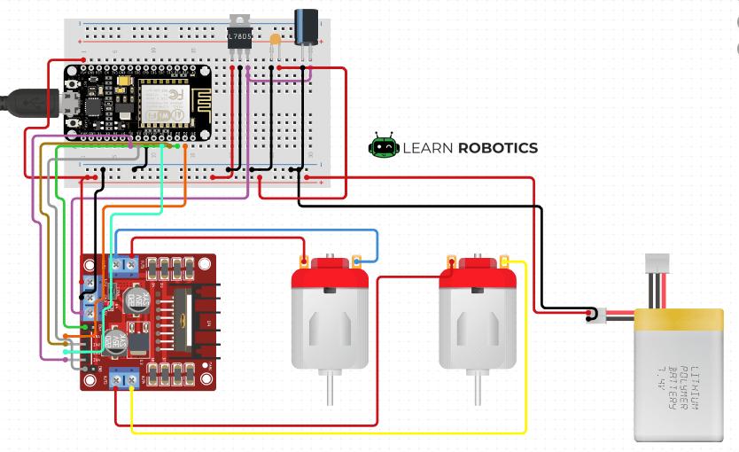 Motor Controller L298N NodeMCU diagram