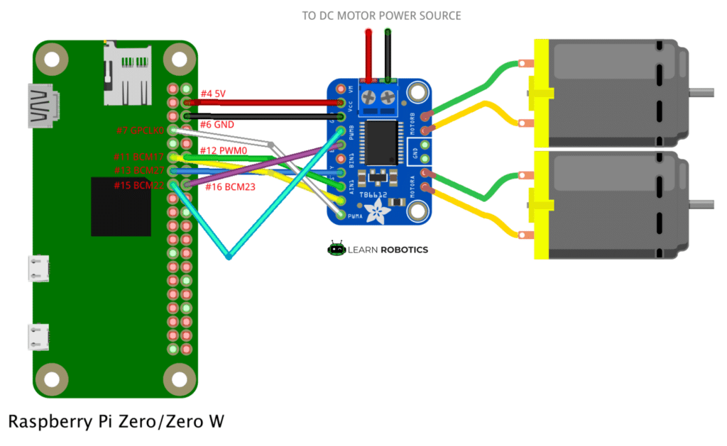 Motor Controller Raspberry Pi diagram
