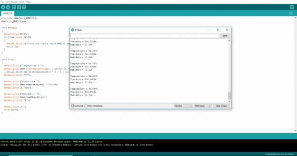 temperature readings arduino serial monitor