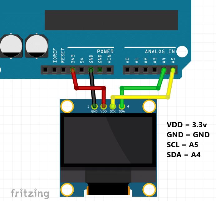 OLED Arduino Fritzing diagram