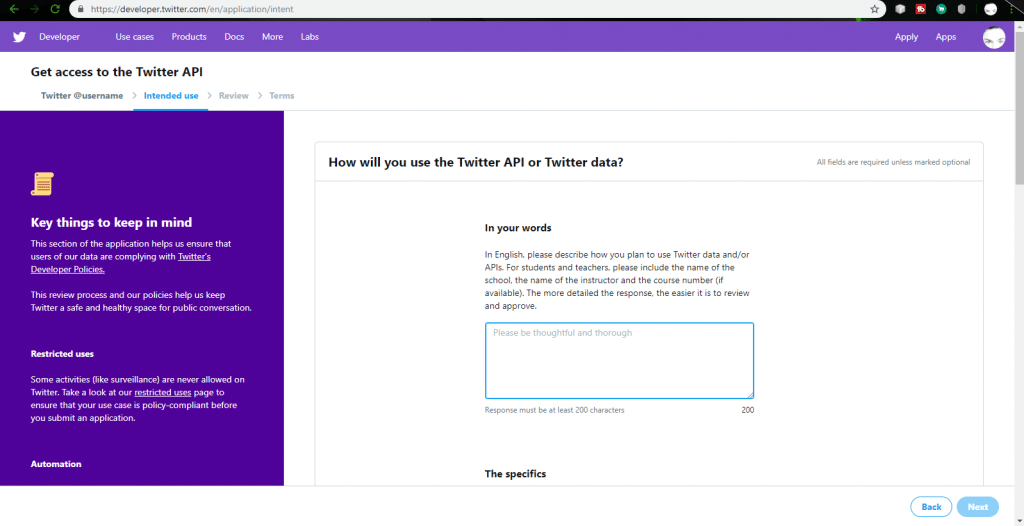 Fill out Twitter API information