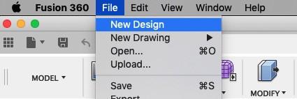 Create a new design in Fusion 360