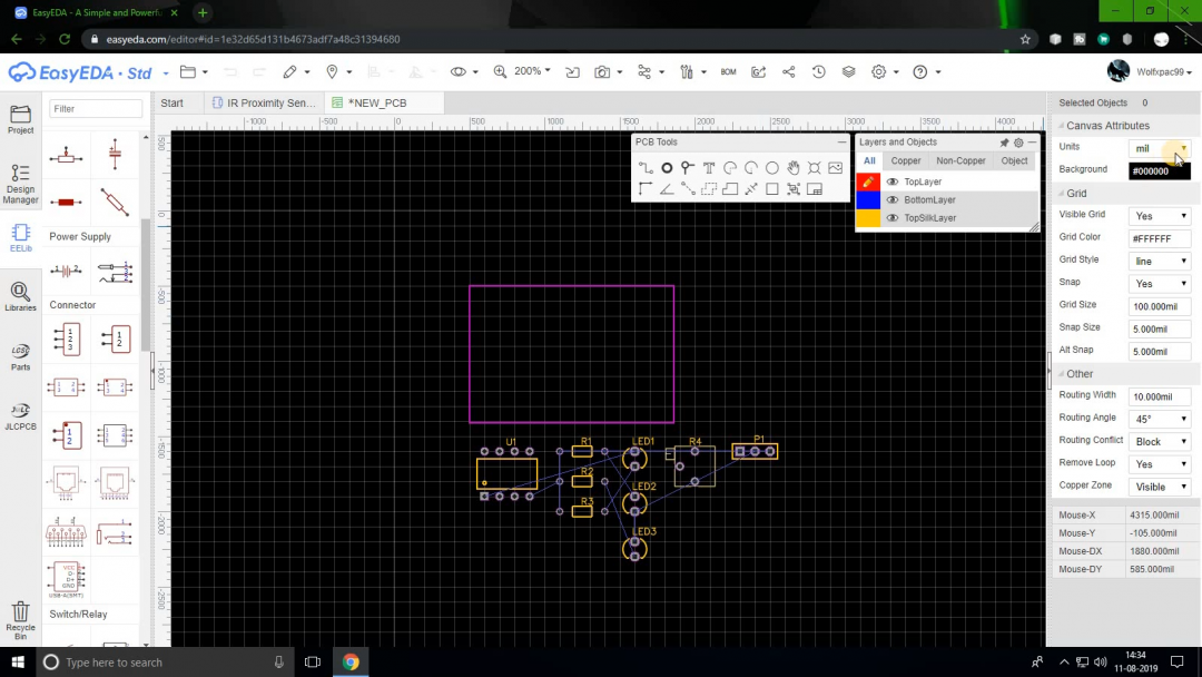 Create a PCB in EasyEDA