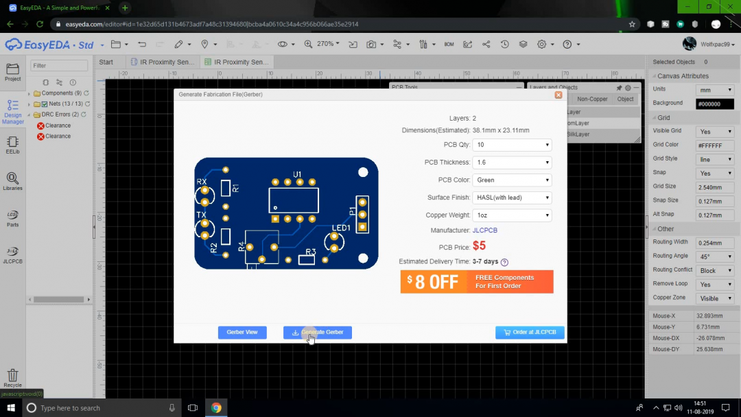 order a PCB from EasyEDA