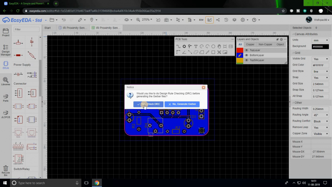 create a pcb online with EasyEDA