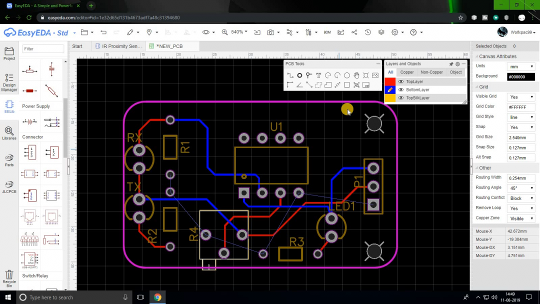 EasyEDA PCB wire traces