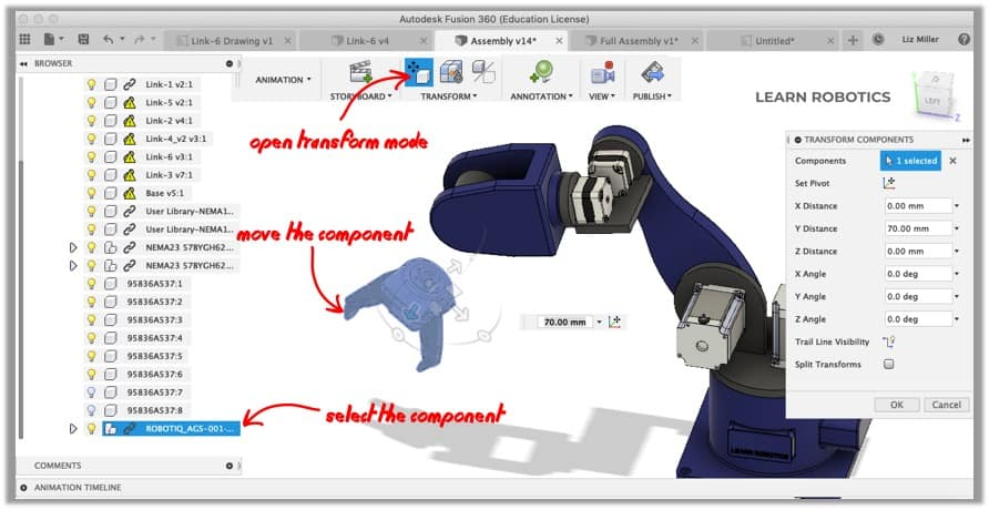 create exploded view in animation workspace