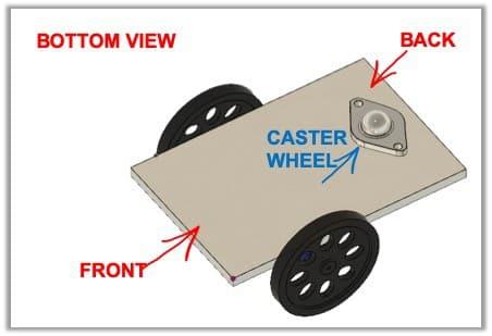 attach caster wheel to bottom of robot diagram