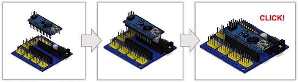 connect Arduino Nano to a shield step by step diagram