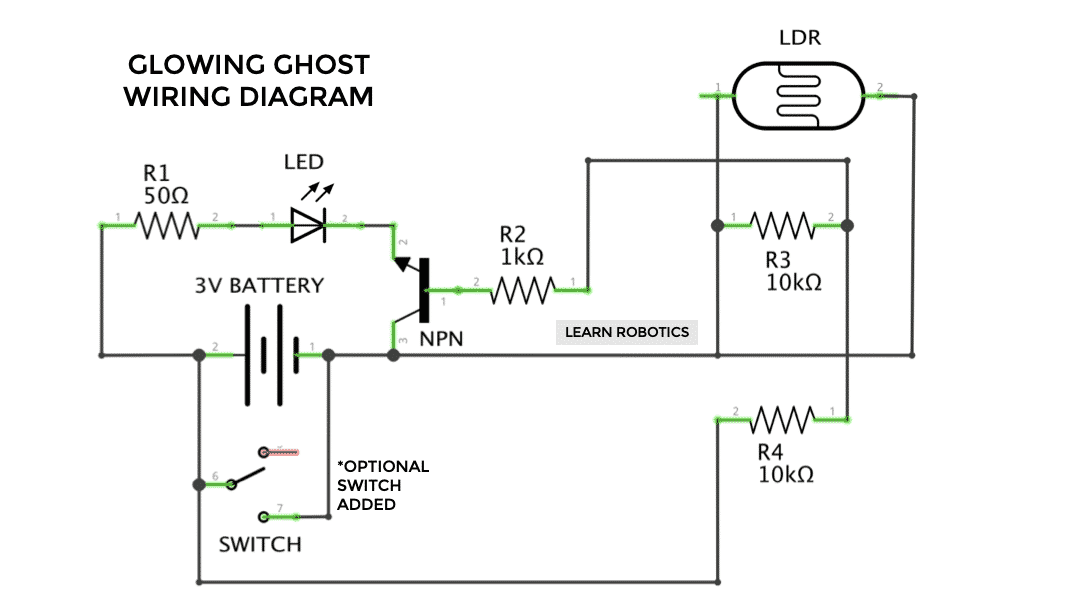 ldr transistor wiring diagram glowing ghost halloween project