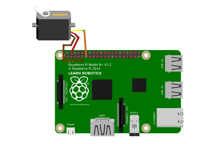 connect a servo to Raspberry Pi wiring diagram fritzing