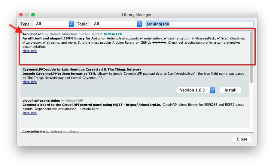 Install ArduinoJson library in Arduino IDE