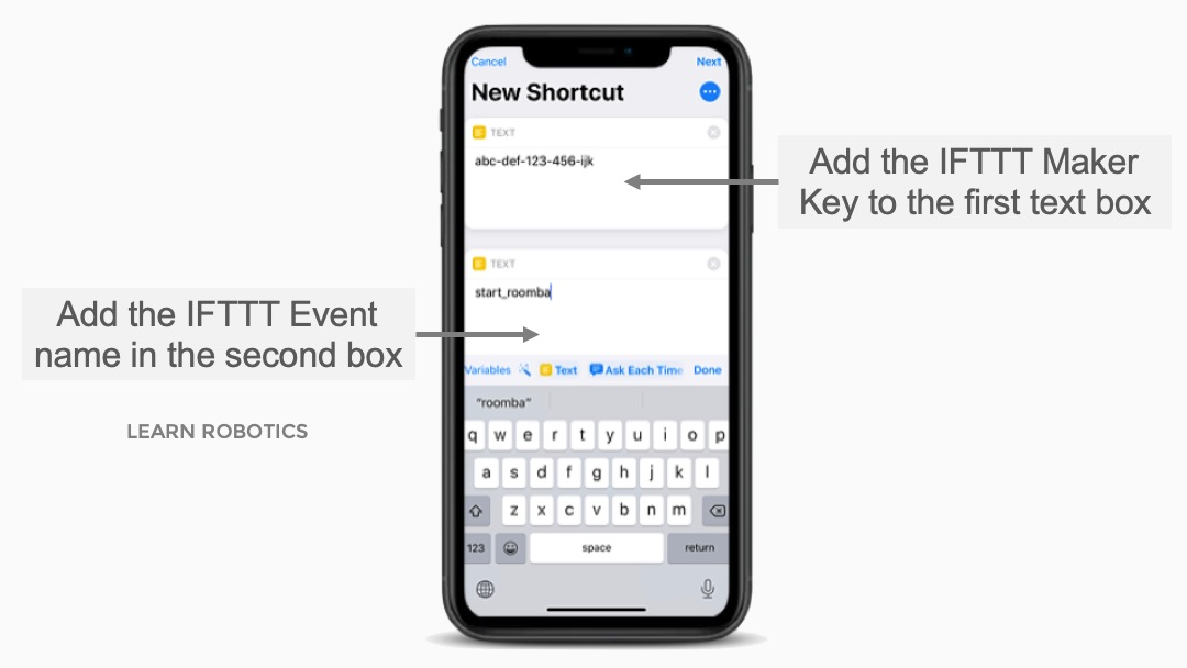 IFTTT Maker Key and URL to Shortcuts