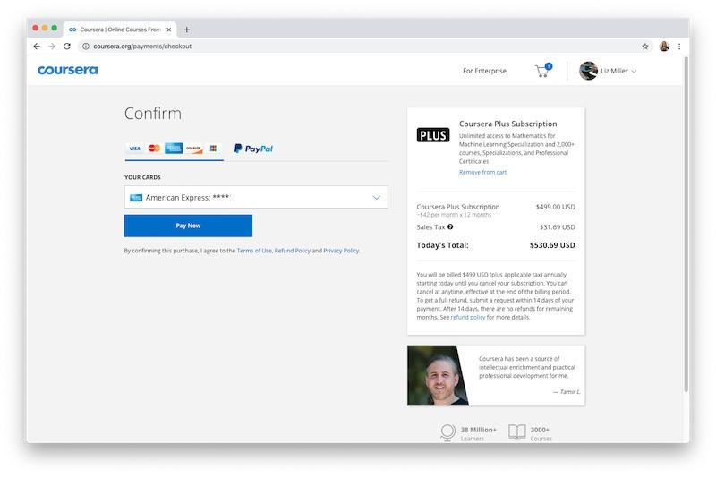 Coursera Plus Checkout process