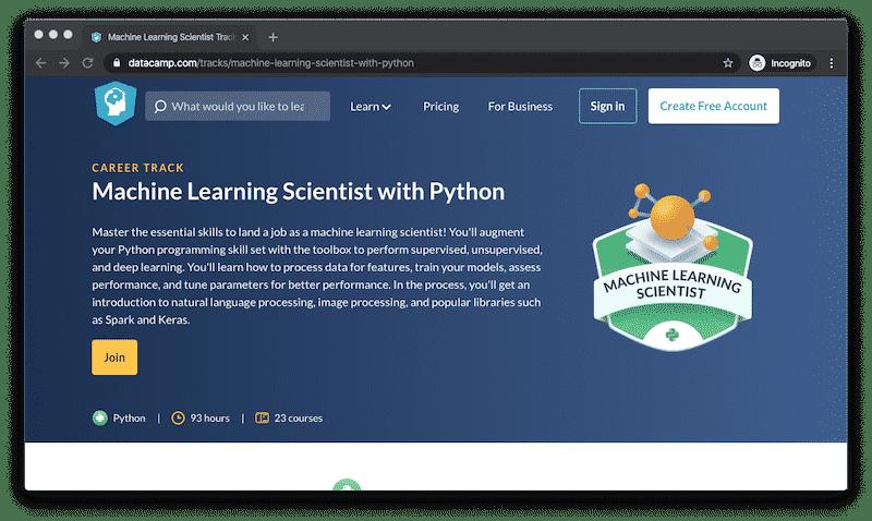 Machine Learning Courses on Datacamp.com