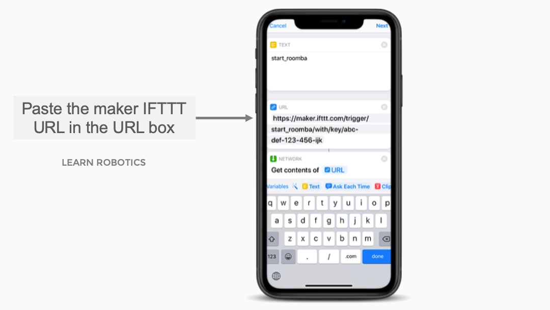 IFTTT Maker URL to control iRobot Roomba with Siri