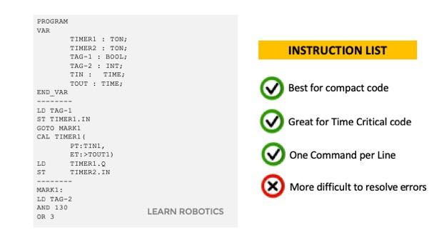 PLC language Instruction List