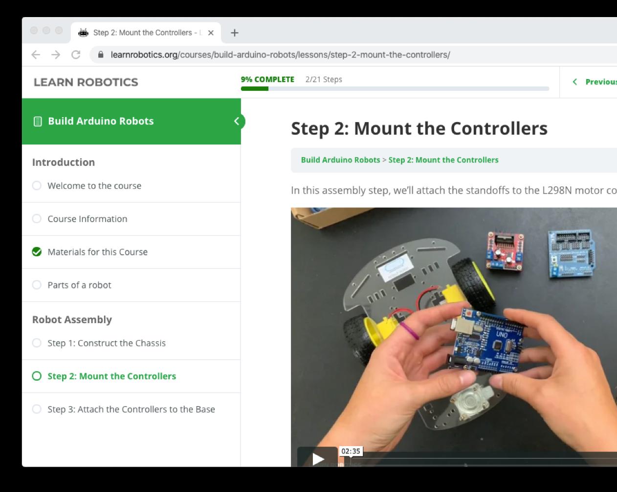 Screenshot of Learn Robotics interface, showing Liz Miller teaching the online build Arduino robots course.