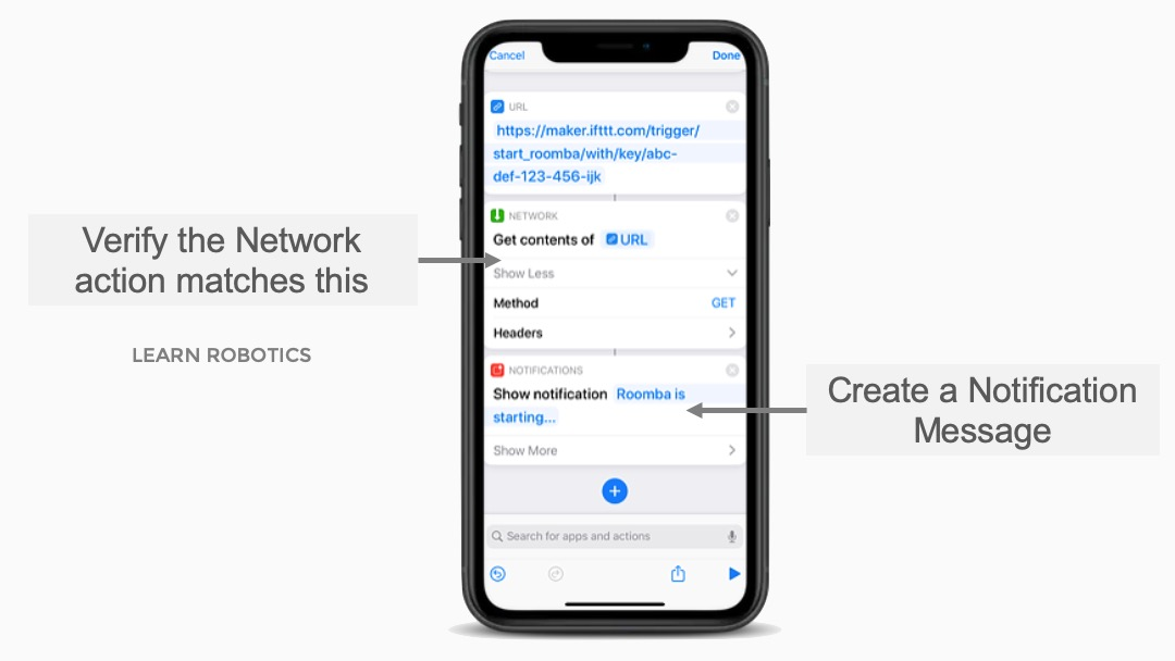 Network Get contents of URL for iRobot Roomba Recipe on IFTTT with Shortcuts