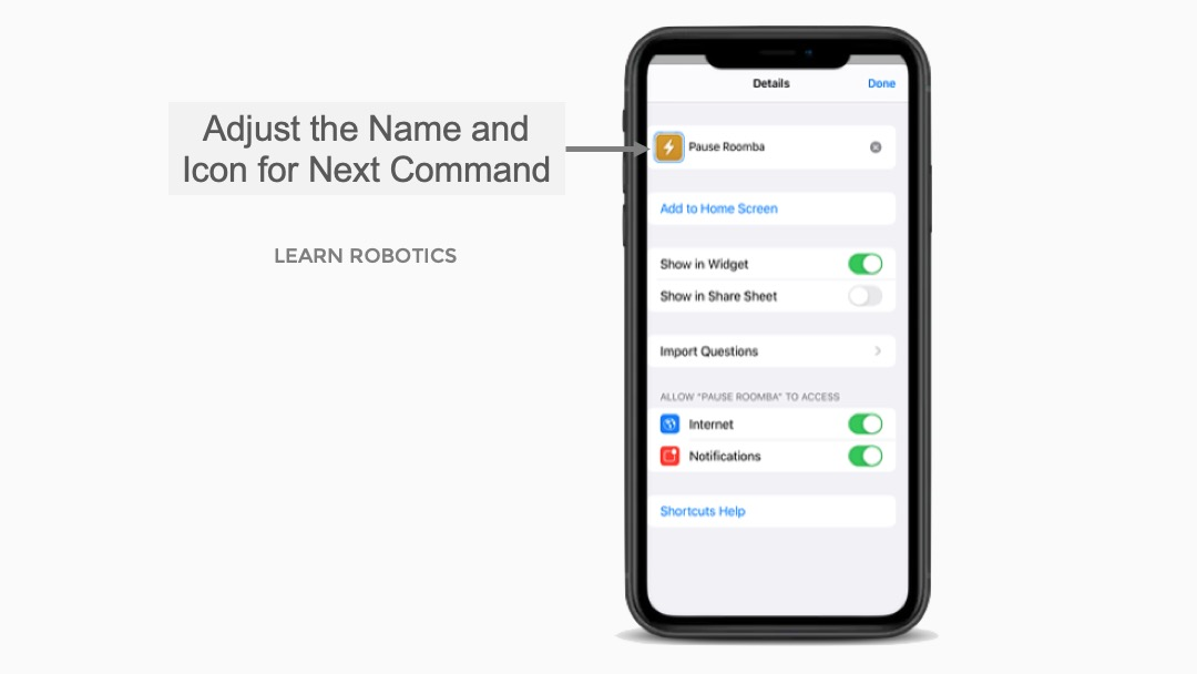 Update Name for Next Command Shortcuts App Siri