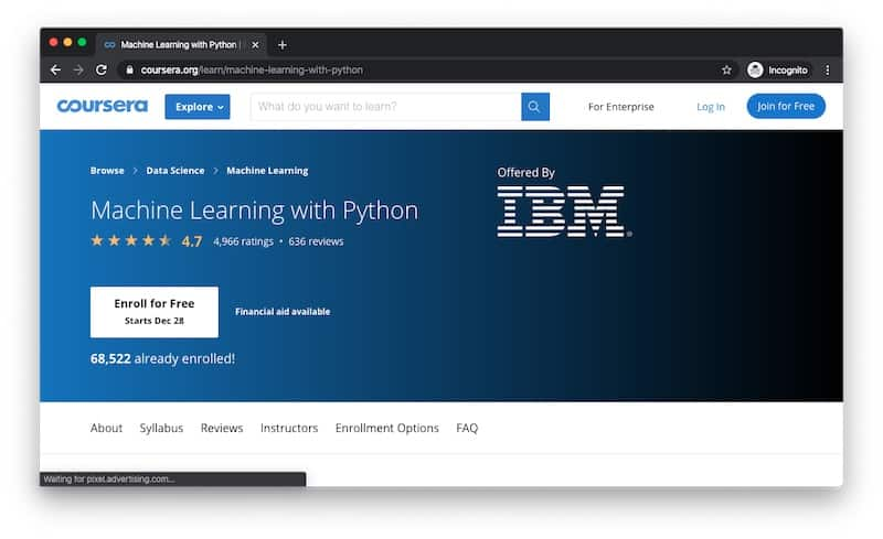 Machine Learning course using Python online