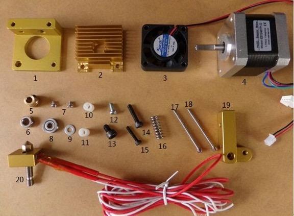 3D printer components for extruder nozzle