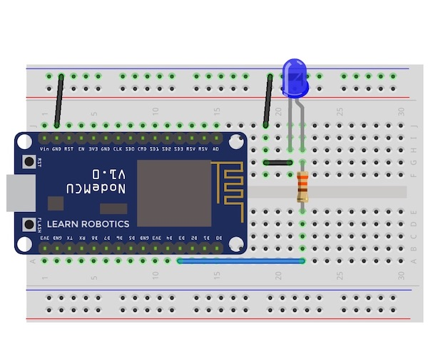 Wire an LED to NodeMCU Fritzing diagram