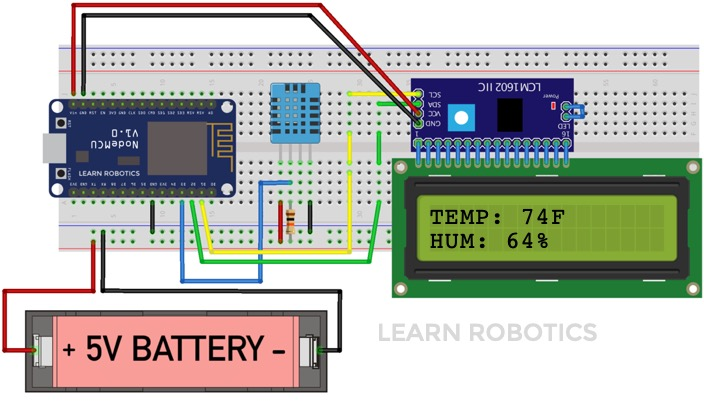 Wire DHT11 Sensor to NodeMCU with LCD I2C