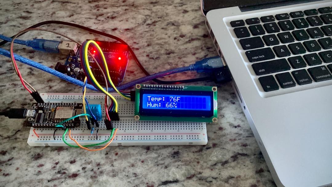 print DHT11 sensor readings to LCD using I2c