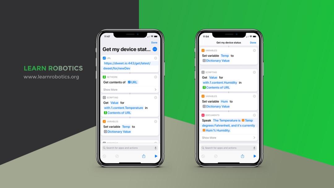 Create a shortcut to receive data from Arduino using Siri