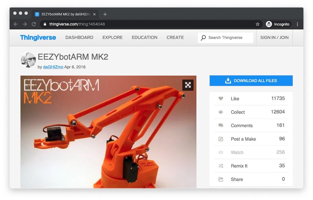 EEZYbotARM MK2 files for download on Thingiverse 3D printing website