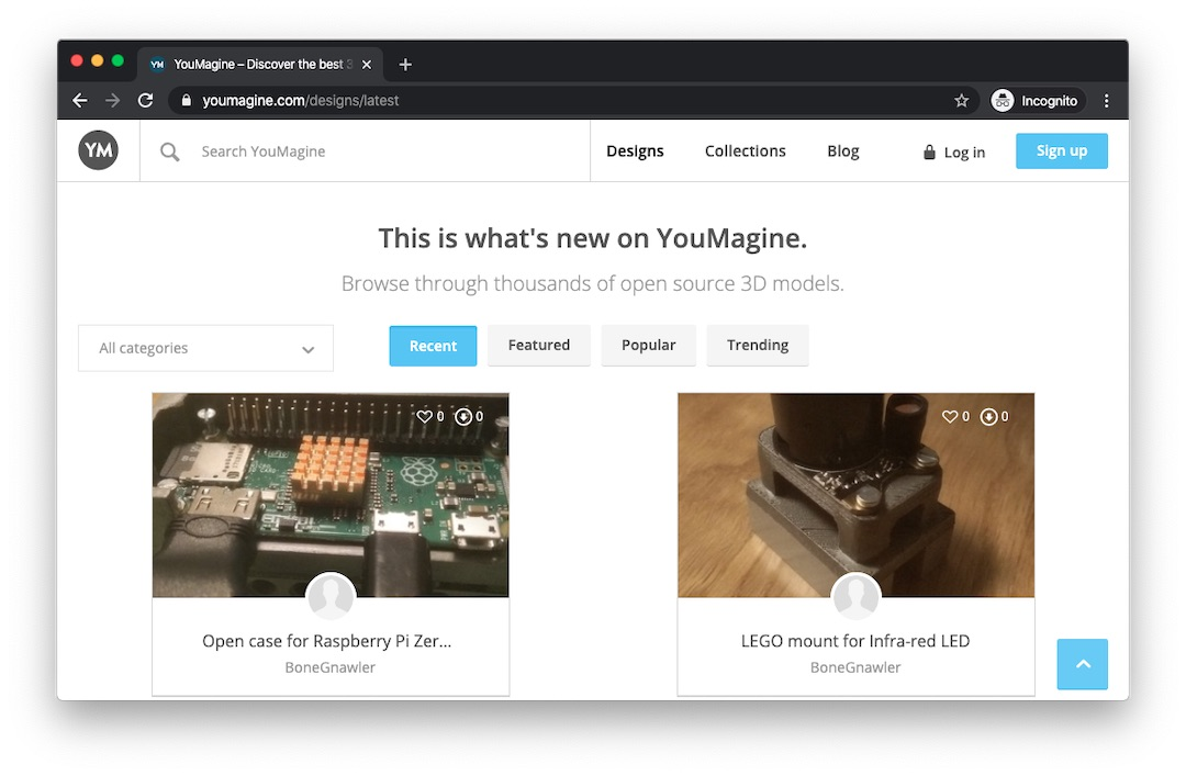 Open source 3D printing files to download for free with YouMagine