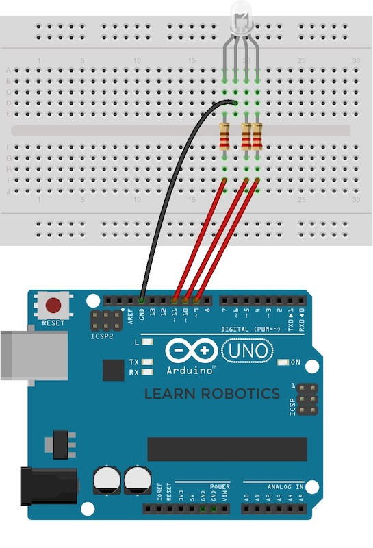 wire an RGB LED using a breadboard and Arduino Uno fritzing diagram for RGB LED