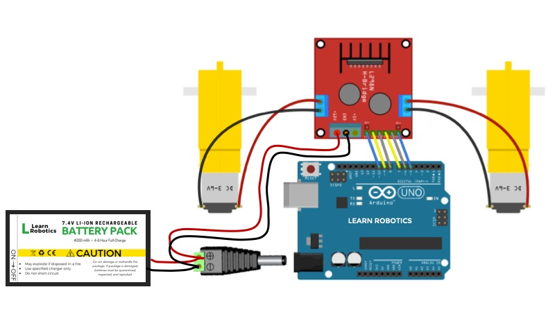 L298N Motor Controller Wiring Diagram and Connections to Arduino Uno