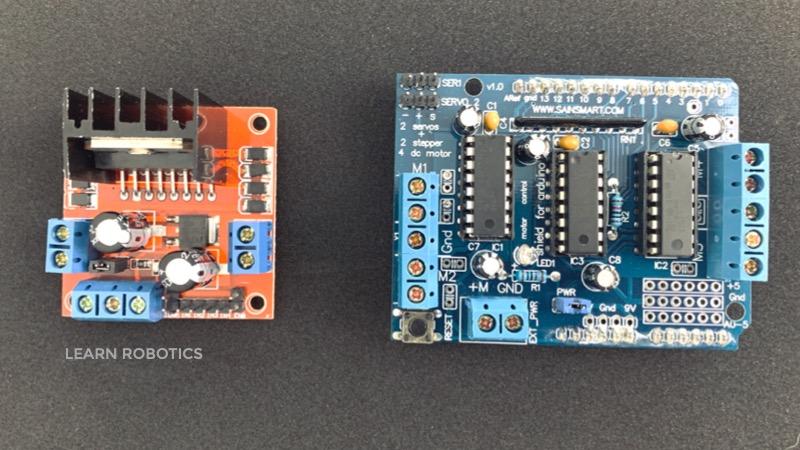 comparison L298N vs. L293D motor drivers for autonomous robots and dc motor control