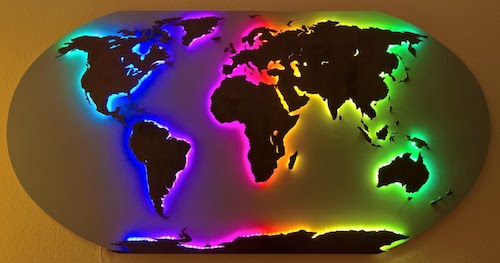 Wall Map of the World using RGB LEDs