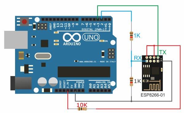 ESP-01 to Arduino Uno Fritzing Wiring Diagram