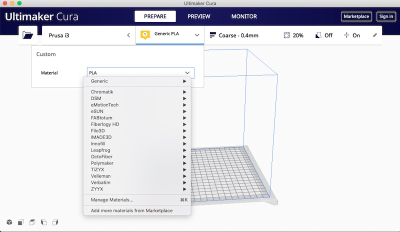 Material Selection Using Cura 3D Printing Slicer Converting Files from STL to Gcode