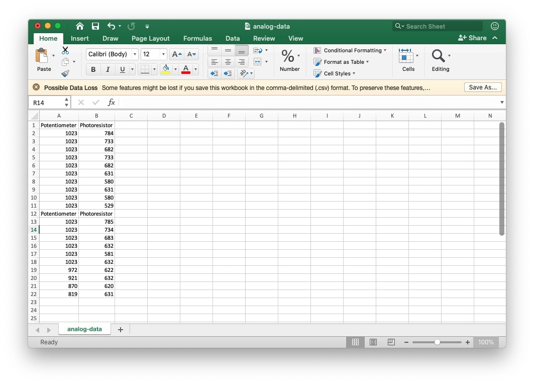 How to view Arduino Data using Excel
